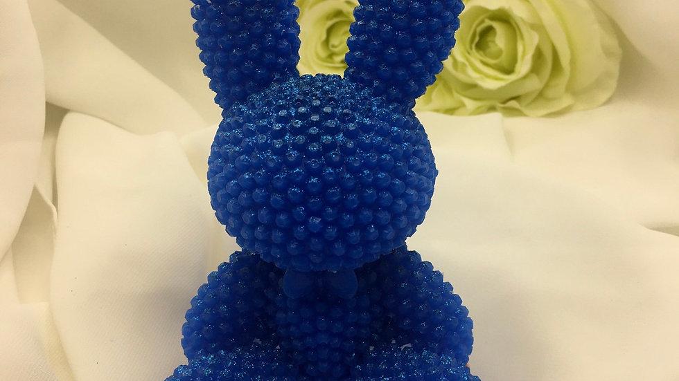 Grand lapin relief bleu électrique