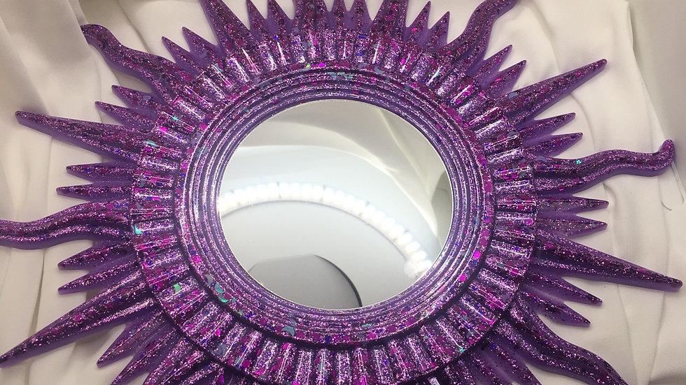 Miroir soleil violet paillettes