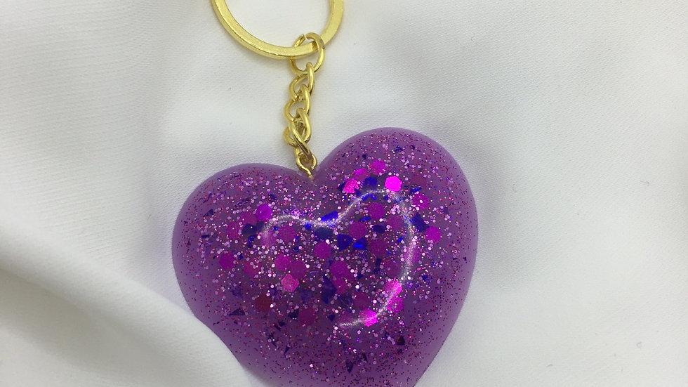 Cœur paillettes violettes