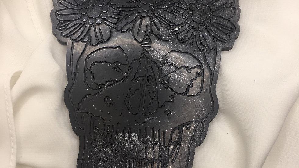 Dessous de verre tête de mort noir argenté