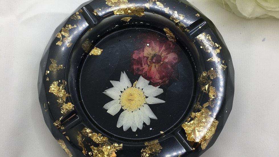 Cendrier fleuris noir doré