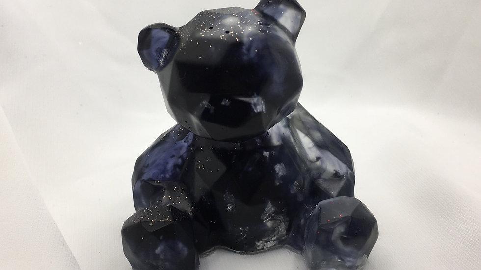 Ourson noir argenté