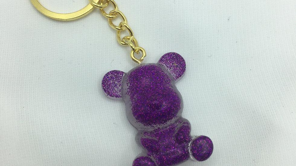 Moyen ours paillettes violettes