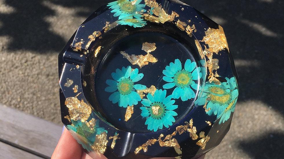 Grand cendrier fleuris bleu doré