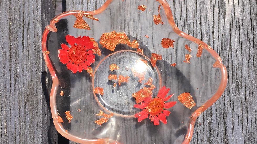 Bougeoirs cuivré fleurs