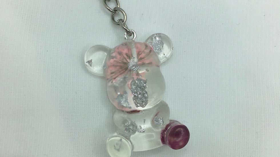 Moyen ours argenté fleurs roses