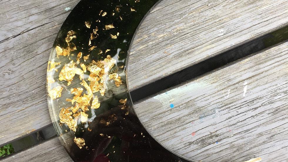 Lune déco ou accrochée noire et dorée