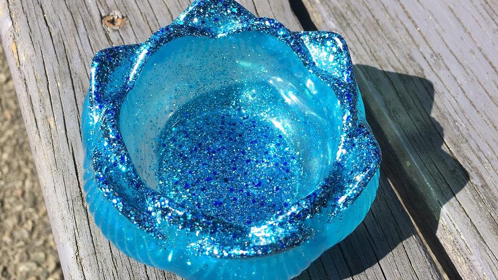 Bougeoirs bleu paillettes