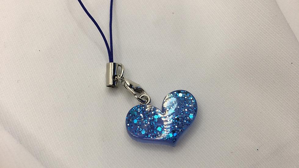 Bijoux de téléphone cœur bleu