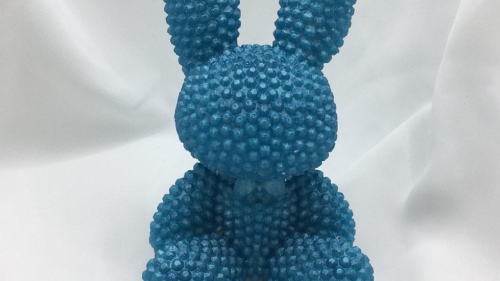 Grand lapin relief bleu nacré