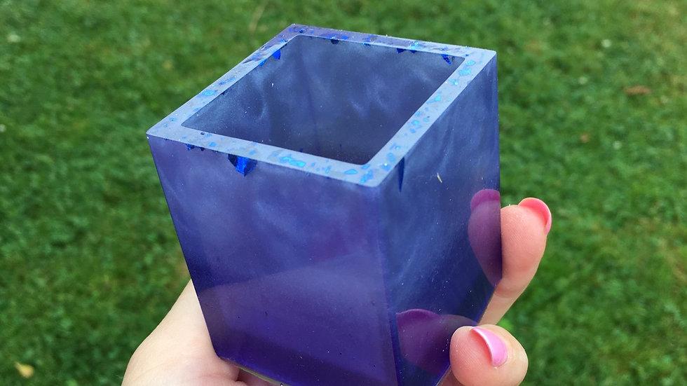 Pot carré bleu nacré