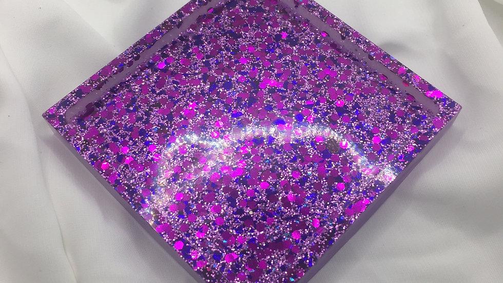 Dessous de verre violet paillettes