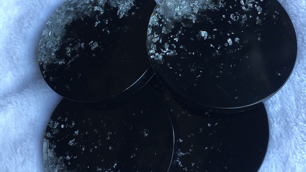 Lot de 4 Dessous de verre noire et argenté