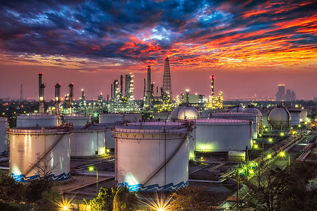 Oil and gas industry - refinery at sunse