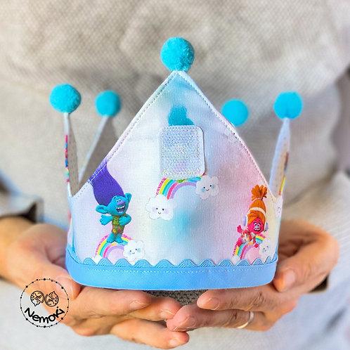 Corona cumpleaños - Trolls Azul