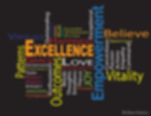 This is a worcloud that describes the essence behind excellence and vitality