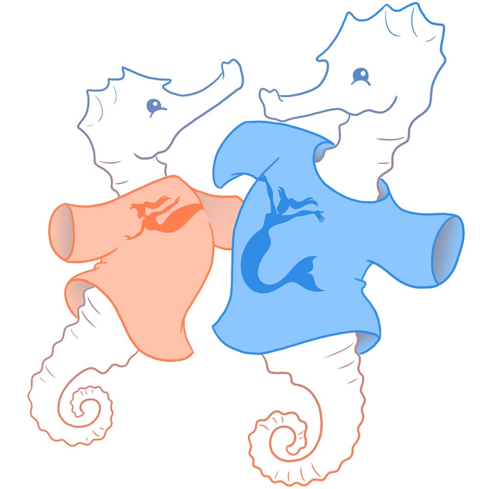 Cartoon seahorse wearing mermaid tee-shirt