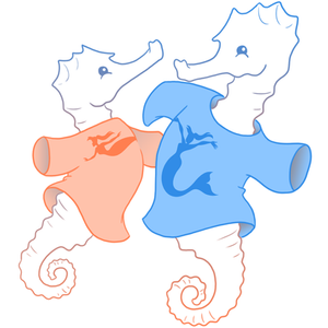 Cartoon seahorse wearing mermaid tee-shirt