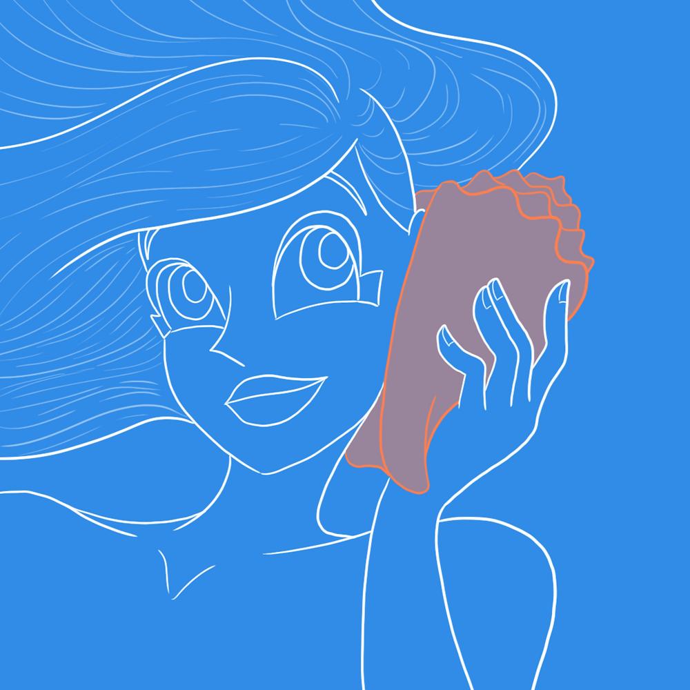 Cartoon Mermaid Listening to Conch Shell