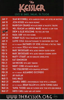 [Upcoming Shows] The Kessler Theater (January - March)