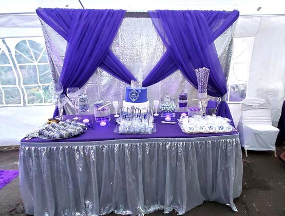 Purple & Silver Dessert Table