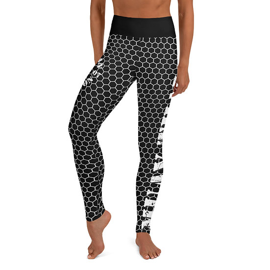 Yoga Black American Revolution Honeycomb Pattern Leggings