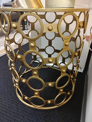 Gold Drum Mirror Top Accent Table