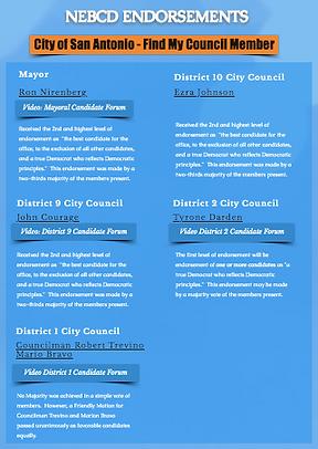 North East Bexar County Democrats Endorsement List