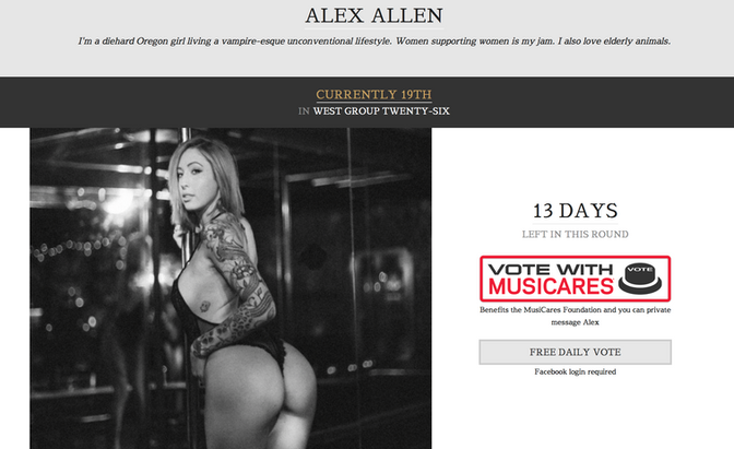 VOTE FOR ALEX ALLEN FOR THE INKED MAGAZINE COVER GIRL CONTEST