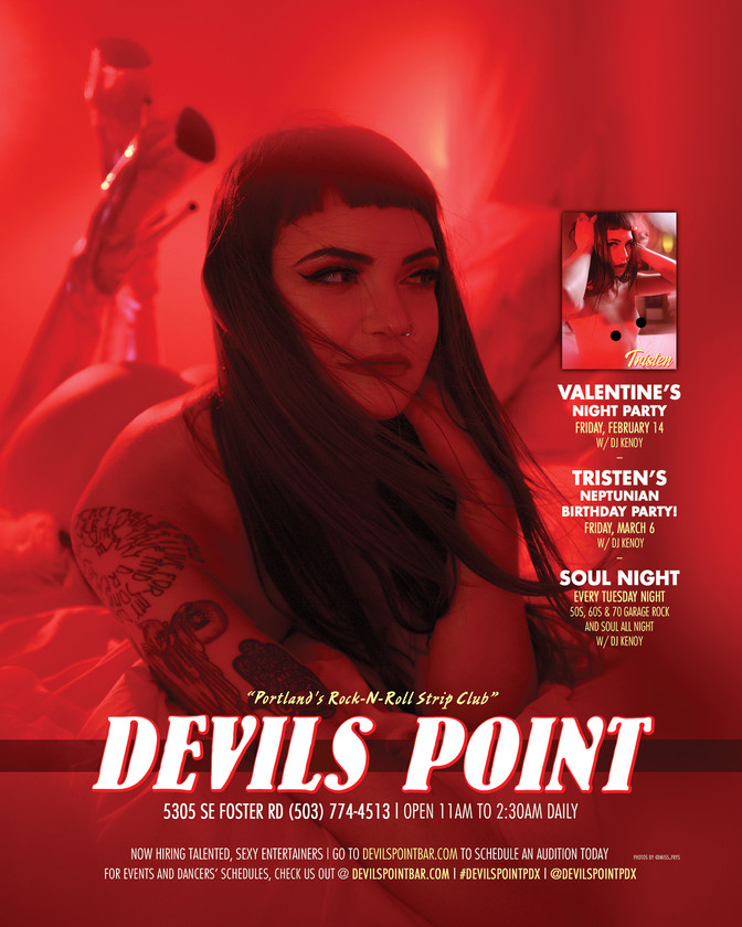 DEVILS POINT DANCER SCHEDULE • TUE, JAN 28TH - MON, FEB 3RD • 2020