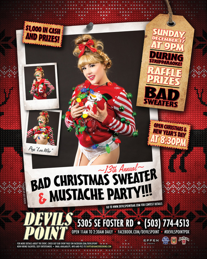 13TH ANNUAL BAD CHRISTMAS SWEATER AND MUSTACHE PARTY!