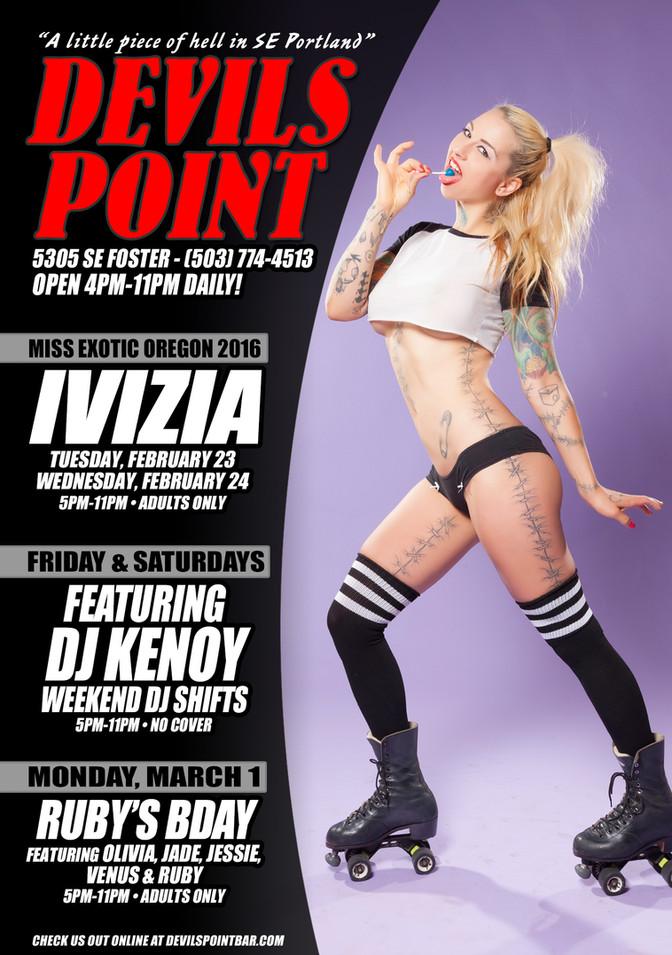 DEVILS POINT DANCER SCHEDULE • TUE, FEB 23 - MON, MAR 1 • 2021