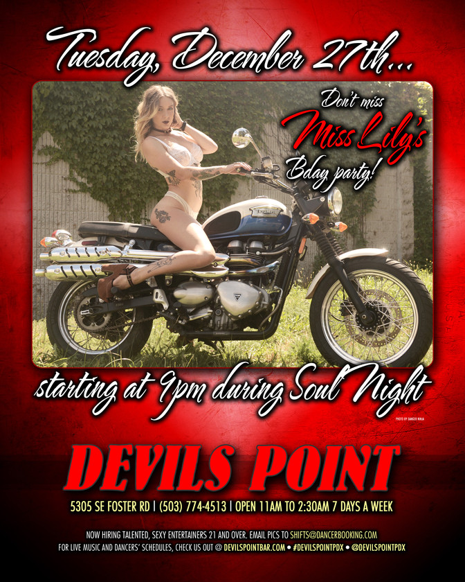 DEVILS POINT DANCER SCHEDULE • TUE, DEC 27TH - MON, JAN 2ND • 2017