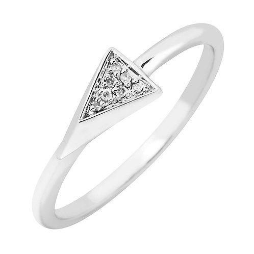 Sterling Triangle Ring with Diamond Accents