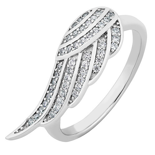 Sterling White CZ Angel Wing Ring