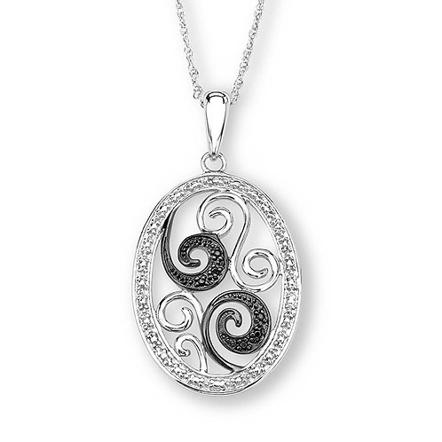 Sterling White and Black CZ Necklace2