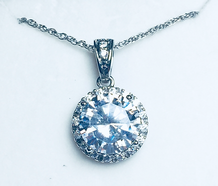 Sterling White CZ Halo Necklace1