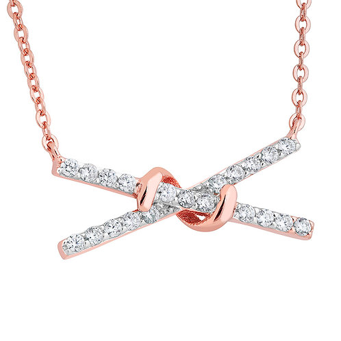 Rose Gold-Plated Sterling Necklace with CZs2