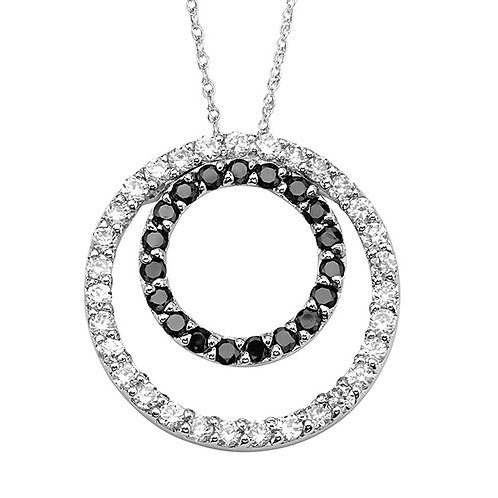 Sterling White and Black CZ Necklace1