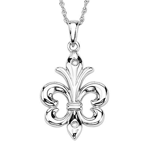 Sterling Fleur di Lis Necklace with Diamond Accent