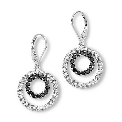 Sterling White and Black CZ Earrings