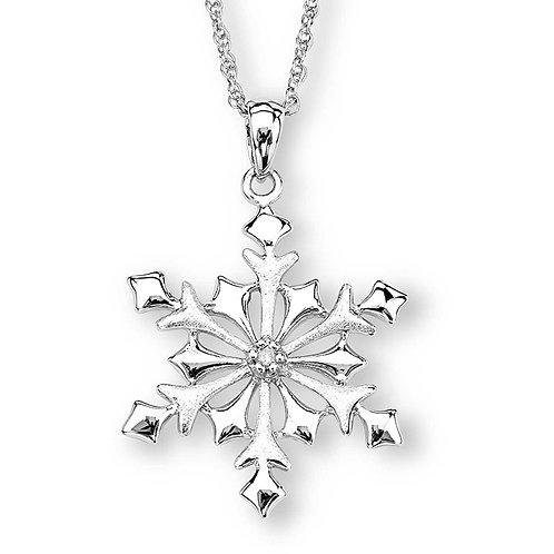 Sterling White Diamond Snowflake Necklace