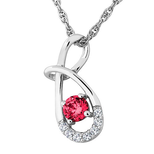 Sterling White and Red CZ Necklace2