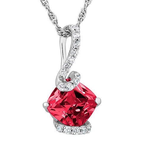 Sterling White and Red CZ Necklace1