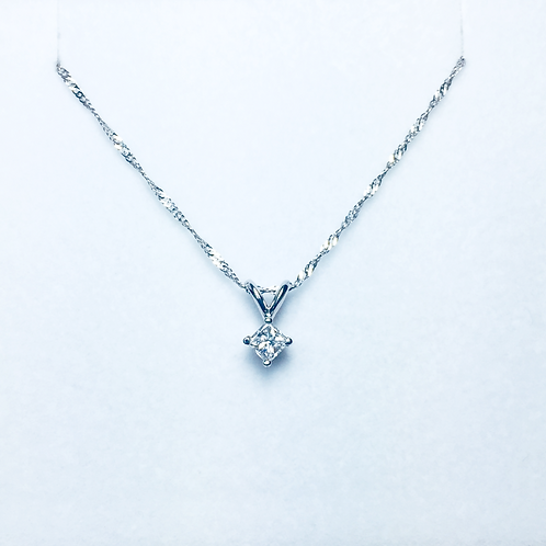 Genuine white diamond solitaire pendant.