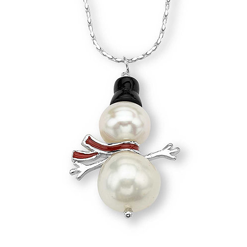 Sterling Pearl Snowman Necklace