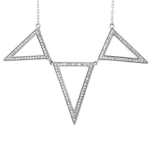 Sterling White CZ 3 Triangle Necklace