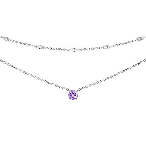 Sterling Purple CZ 2-Strand Necklace