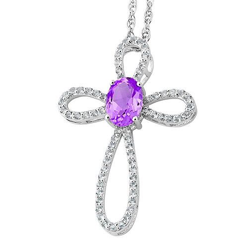 Sterling Cross Necklace with White and Purple CZs