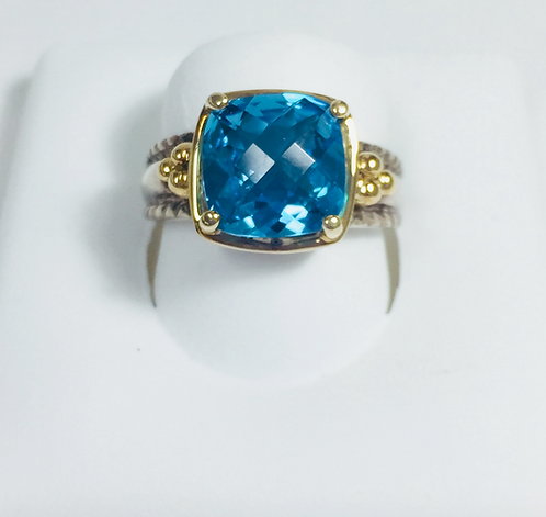 Genuine blue topaz ring.